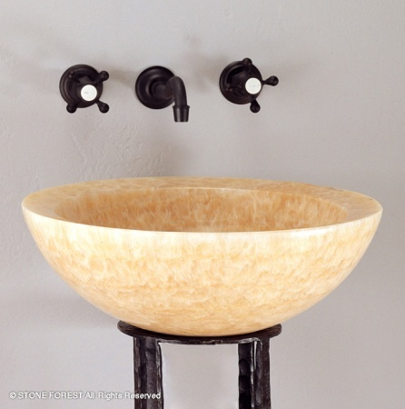 """C25HO - 18""""  Stone Forest Round Stone Vessel Sink- Avail in 5 colors"""