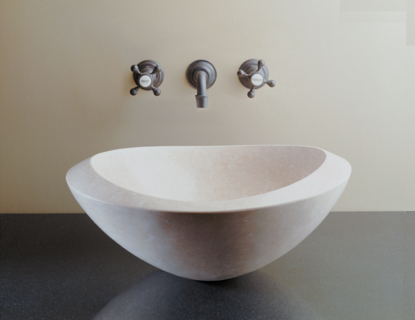 """C51PAP - 18""""  Stone Forest Roma Stone Vessel Sink- Oval"""