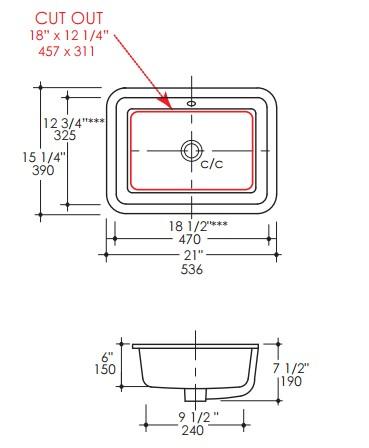 "H270S - 18.5""  Lacava Eleganza Undermount Sink"
