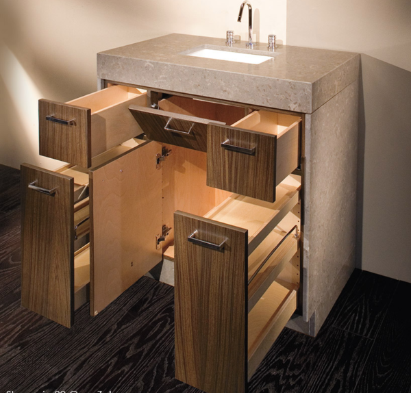 "STO22B 600x574 - 36"" Lacava Pietra Vanity Base Optional Top, sink, toekick, & side panels-Avail in Multiple finishes"