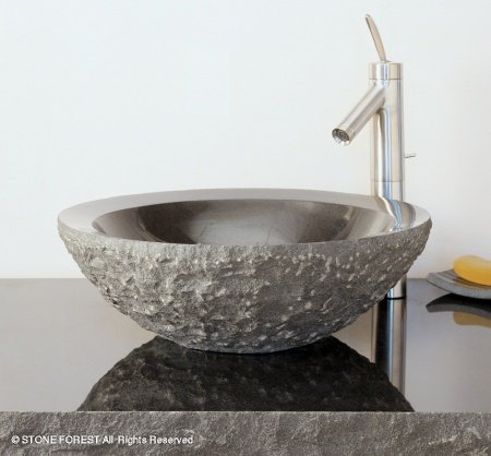 "c25 - 18""  Stone Forest Round Stone Vessel Sink- Avail in 2 colors"