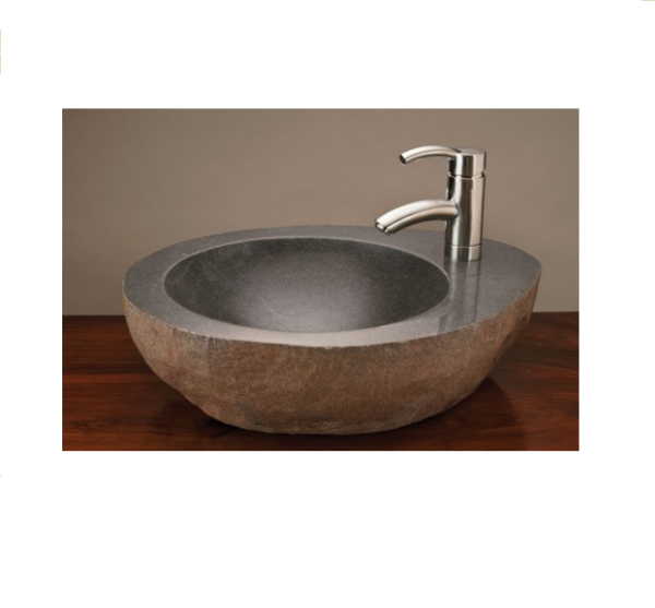 "c26fct 600x557 - 18""-22"" Stone Forest Natural Vessel Sink w/faucet mount-Gray Granite"