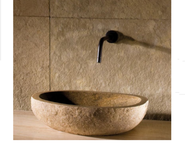 "c28 600x497 - 17""- 22"" Stone Forest Natural Pebble Vessel Sink"