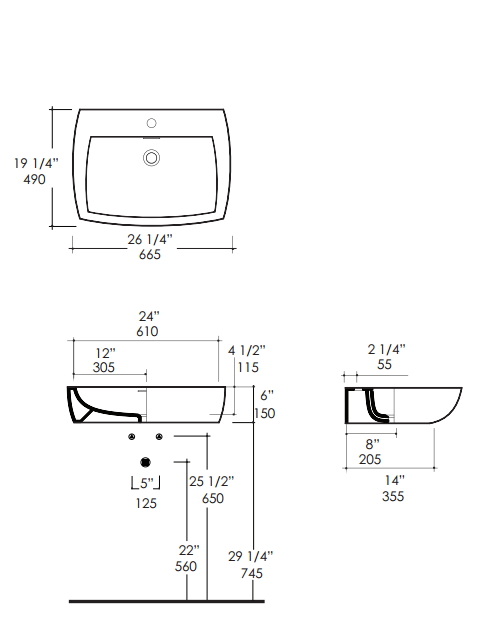 "srt10s - 26.25""  Lacava Ottavo Wall Mount Sink"