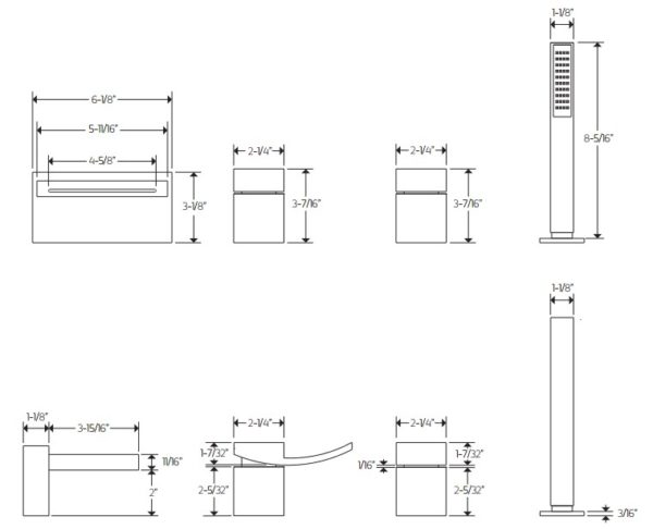 F2022S 600x486 - Artos Quarto Roman Tub set w/handshower-4-Hole