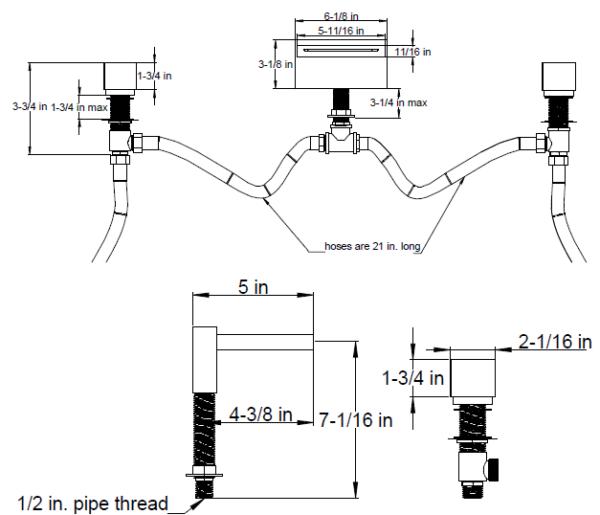 F2026S 600x515 - Artos Quarto Roman Tub set w/cube handles
