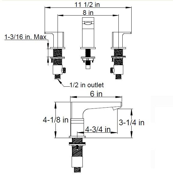 F7015S - Artos Safire Contemporary Widespread Faucet