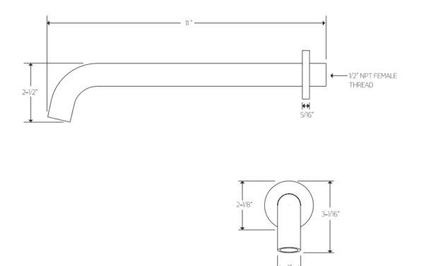 F9083S 600x377 - Artos Opera Wall Mount Tub Filler -Extended