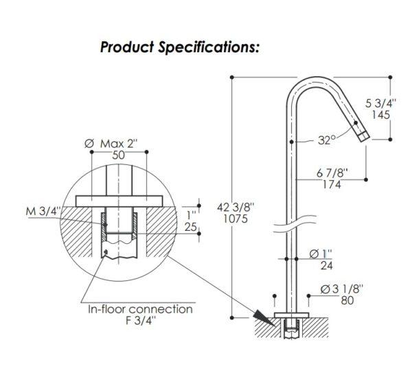 0104H1S 600x553 - Lacava Minimal Floor Standing Faucet-w/mixer
