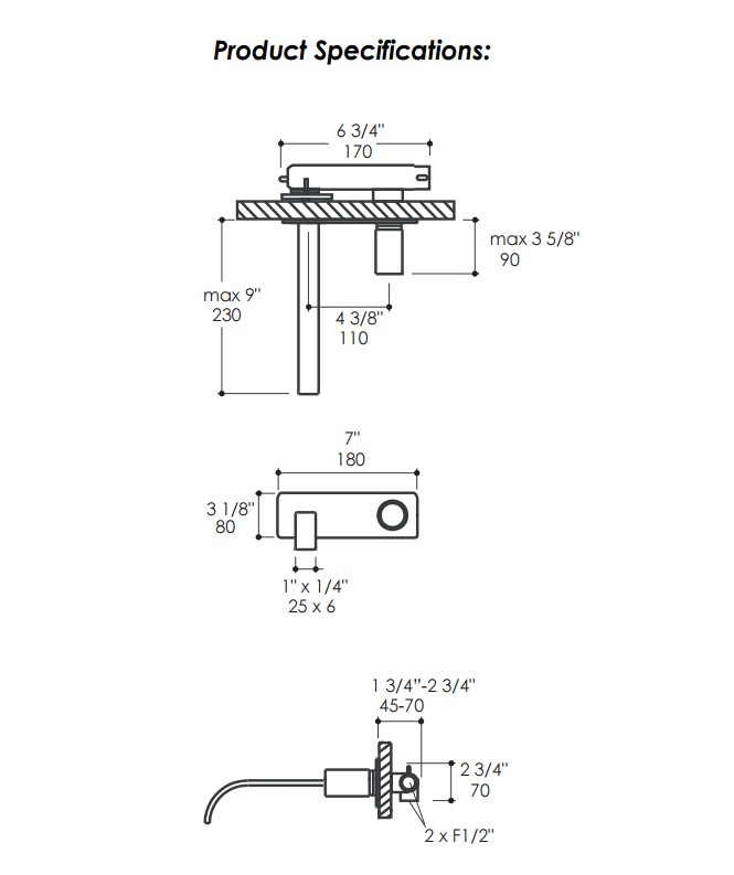 13013S - Lacava Arch Wall Mount Faucet w/backplate