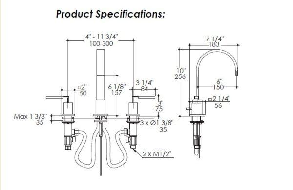 1403S 600x390 - Lacava Kubista Widespread Faucet Lever Handles