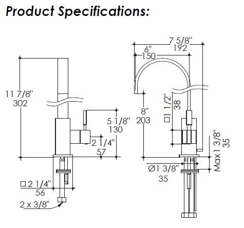 1411S - Lacava Kubista Single Hole Faucet - High Arc Spout