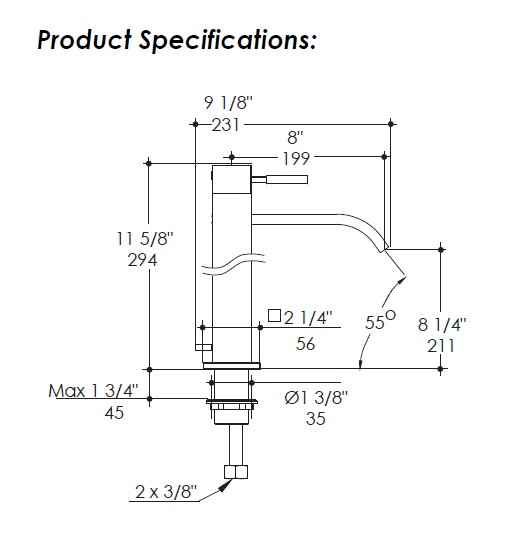 1420S - Lacava Kubista Vessel Faucet