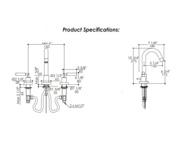 1583S 600x498 - Lacava Cigno Widespread Faucet-Lever Handle
