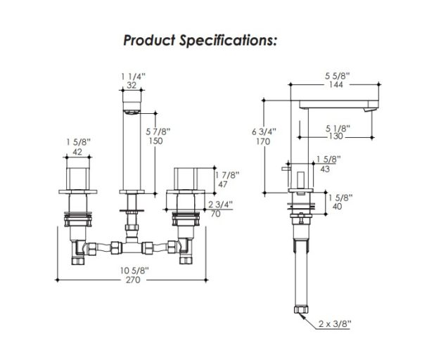 2803S 600x485 - Lacava Tre Widespread Faucet-Lever Handle