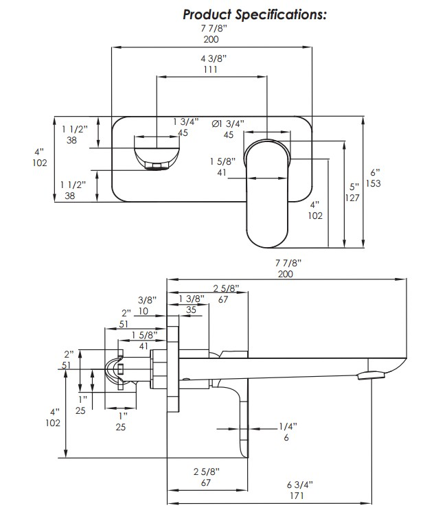 4114s - Lacava Contemporary Flou Wall Mount Faucet