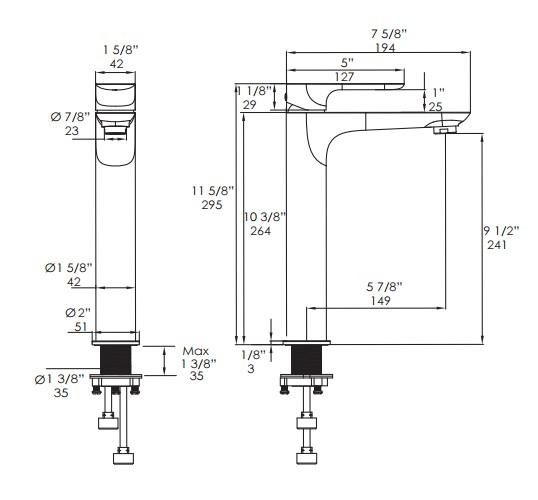4120S - Lacava Flou Contemporary Vessel Faucet 4120