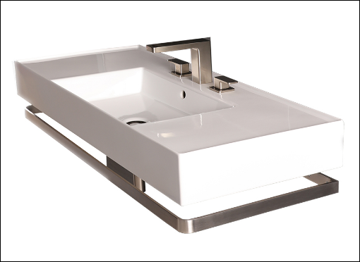 Wall mount sink with towel bar