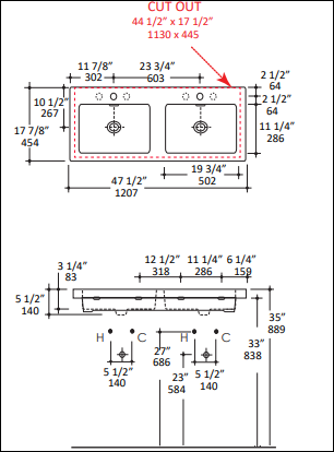 "5214s - 48"" Lacava Aquaquattro Wall Mount or Vessel Double Sink 5214"